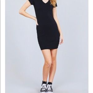 Black V Neck Fitted Tee Dress